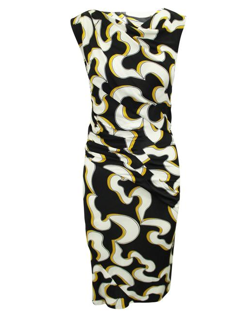 Item - Black White and Yellow Print -pre Owned Cocktail Dress