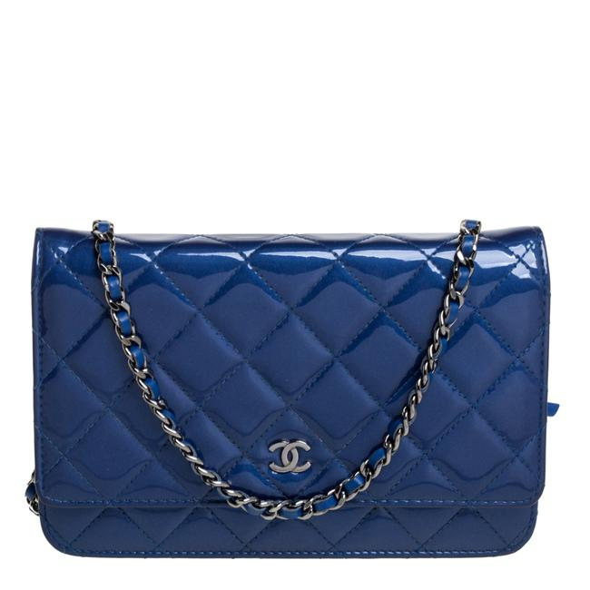 Item - on Chain Blue Quilted Patent Leather Classic Wallet