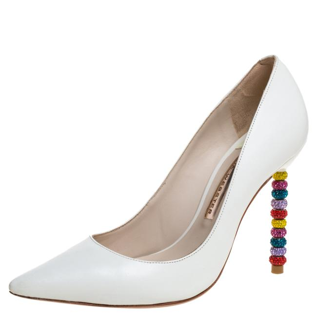 Item - White Leather Coco Crystal Embellished Heel Pointed Size 36 Pumps