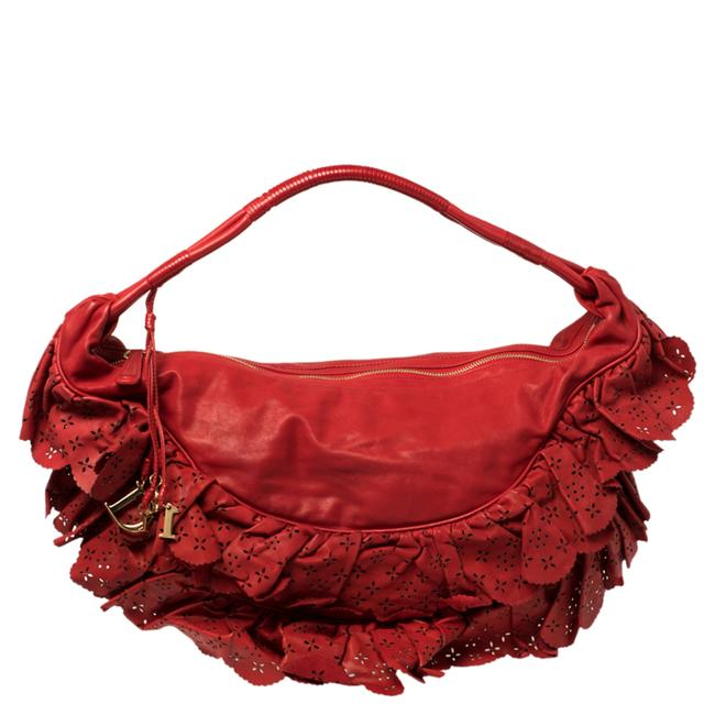 Item - Red Leather Large Gypsy Ruffle Hobo Bag