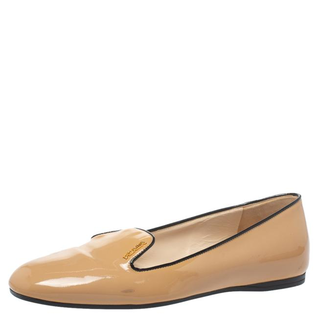 Item - Beige Patent Leather Smoking Slippers Size 38.5 Flats
