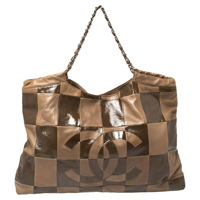 Item - Brooklyn Cabas Brown Leather and Patent Leather Large Patchwork Tote Hobo Bag