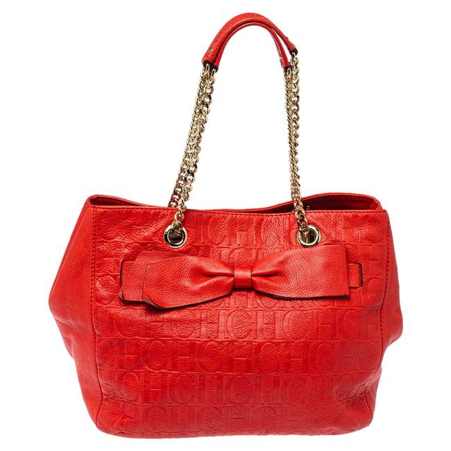 Item - Red Monogram Leather Audrey Tote