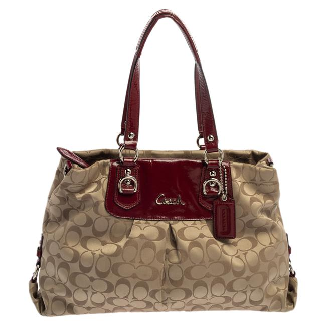 Item - Ashley Beige/Maroon Canvas and Patent Leather Satchel