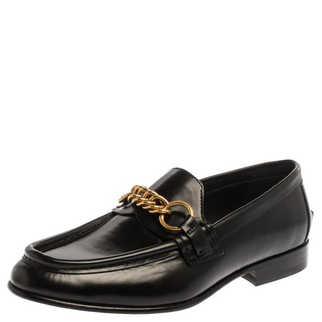 Item - Black Leather Solway Chain Detail Slip On Size 40 Loafers