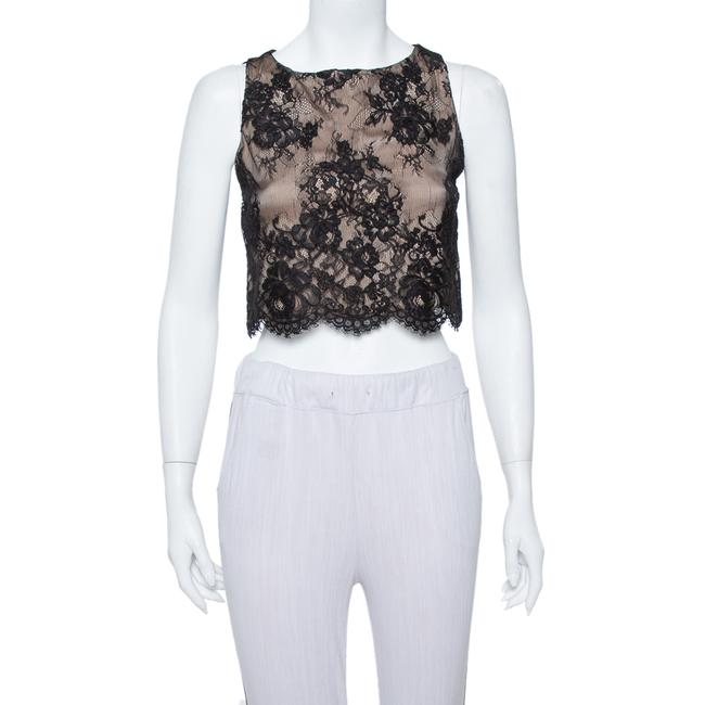 Item - XS Black Scallop Lace Overlay Sleeveless Cropped Top Blouse