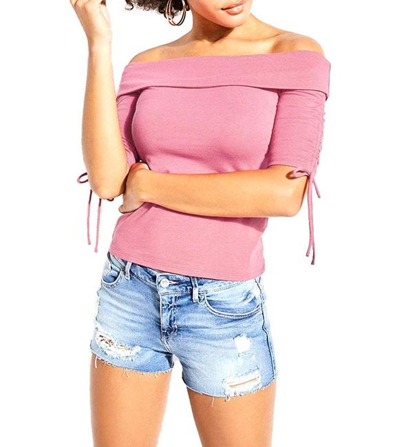 Item - Enzo Ruched Off-the-shoulder Top Blouse