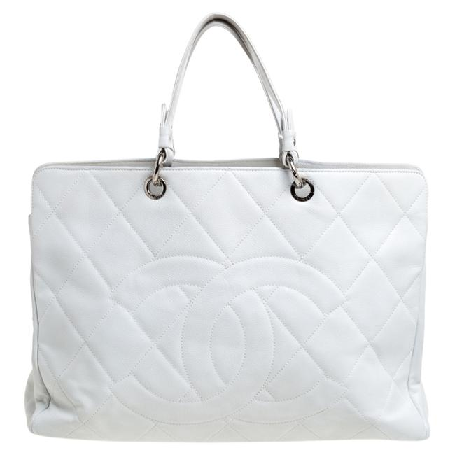 Item - Timeless White Caviar Quilted Leather Cc Tote