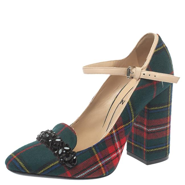 Item - N21 Green Check Fabric Mary Jane Size 38.5 Pumps