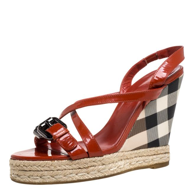 Item - Burnt Orange Patent Leather and Pvc Check Heel Wedge Size 38 Sandals