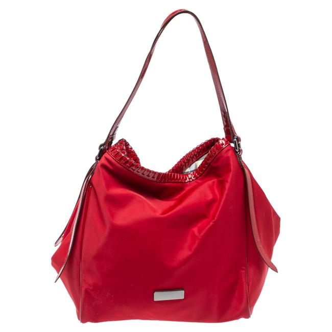 Item - Red Nylon and Patent Leather Canterbury Tote