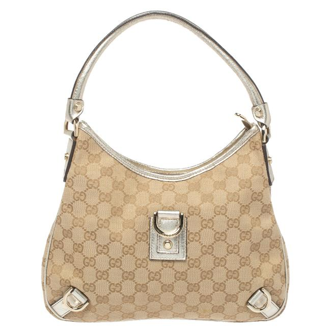 Item - Abbey Beige/Gold Gg Canvas Small D Ring Hobo Bag