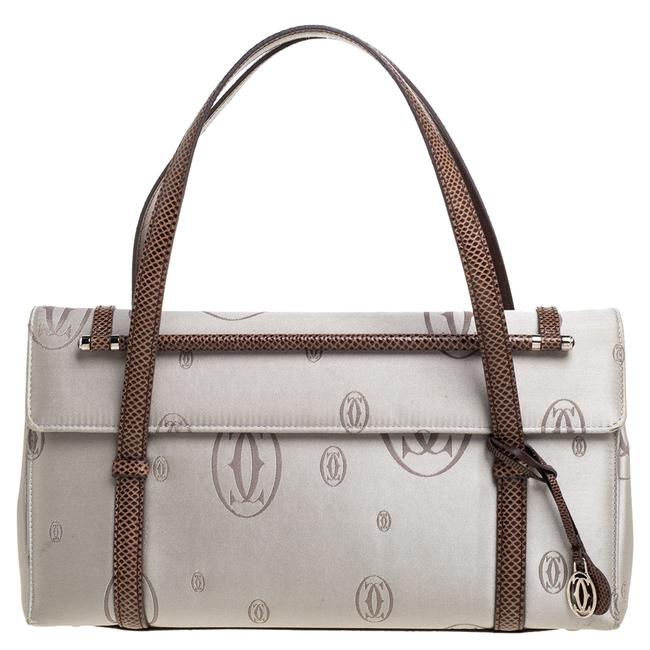Item - Flap Bag Grey/Brown Satin and Leather Karung Trimmed Happy Birthday Cabochon Wristlet