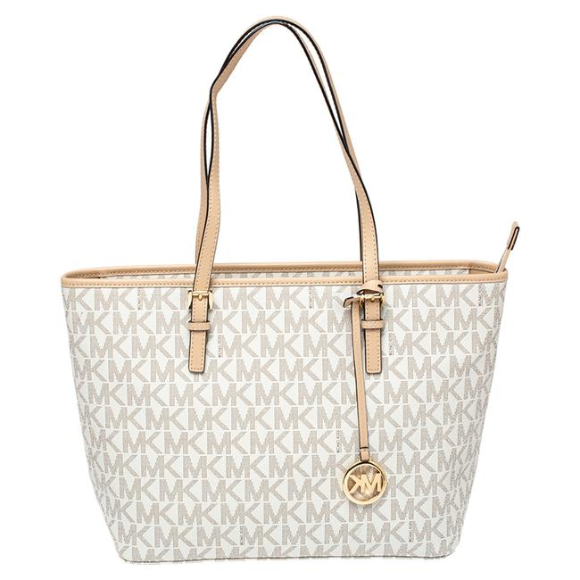 Item - White/Beige Coated Canvas and Leather Medium Jet Set Tote