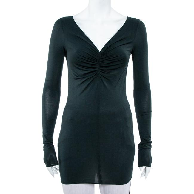 Item - Emporio Dark Green Ruched Knit Fitted Tunic