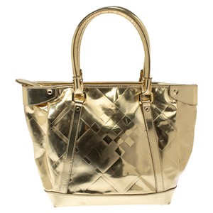 Burberry Gold Beat Check Mirror Patent Leather Ember Tote