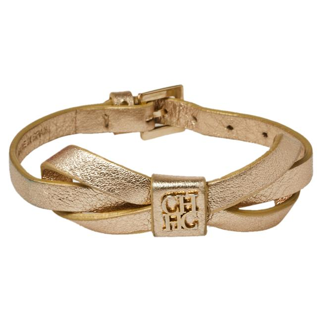 Item - Gold/Ecru Leather Ribbon Bracelet Jewelry