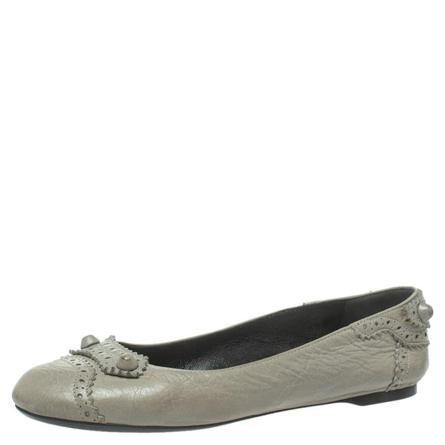Item - Grey Brogue Leather Arena Studded Ballet Size 38.5 Flats