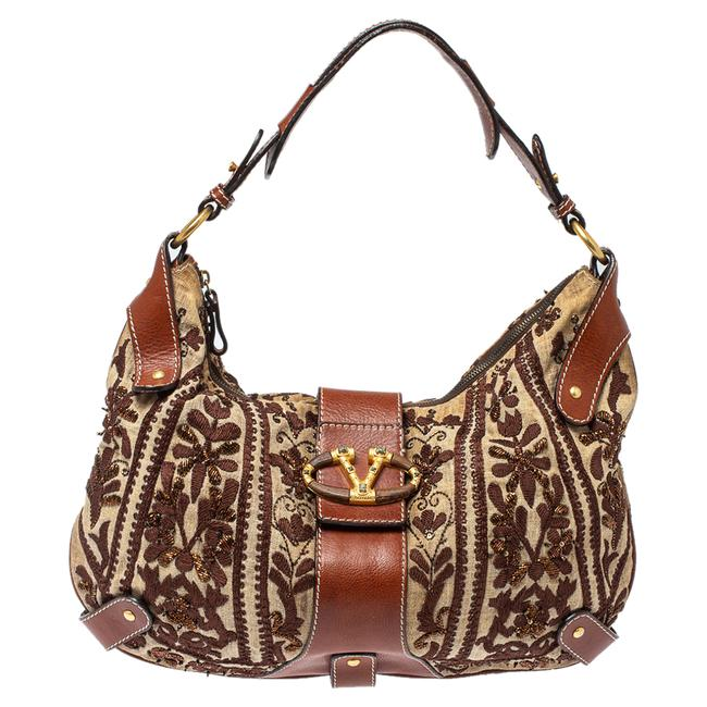 Item - Beige/Brown Canvas and Leather Embroidered Hobo Bag