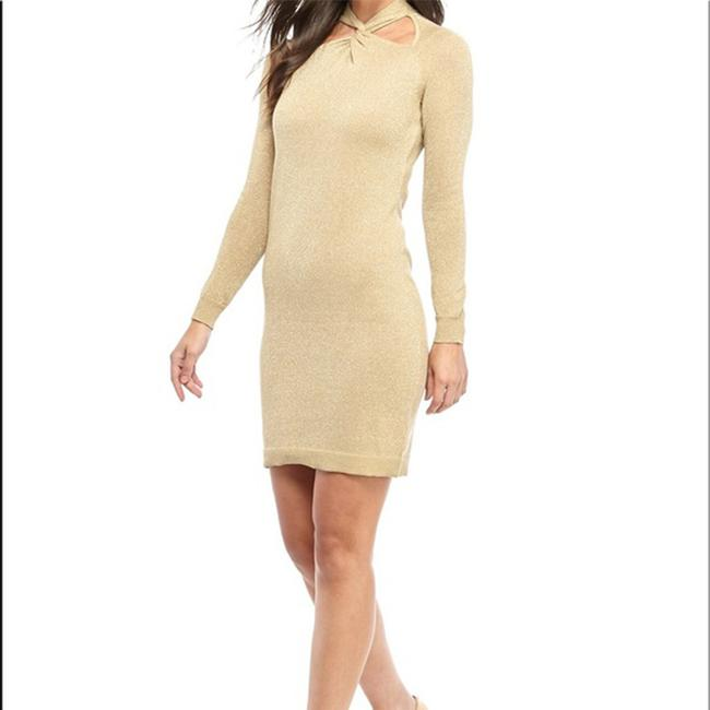 Item - Women's Twist-neck Sweater Shimmer Khaki Casual Maxi Dress