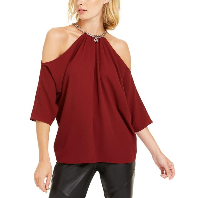 Item - Chain-link Cold-shoulder Red Dress Shirt Button-down Top