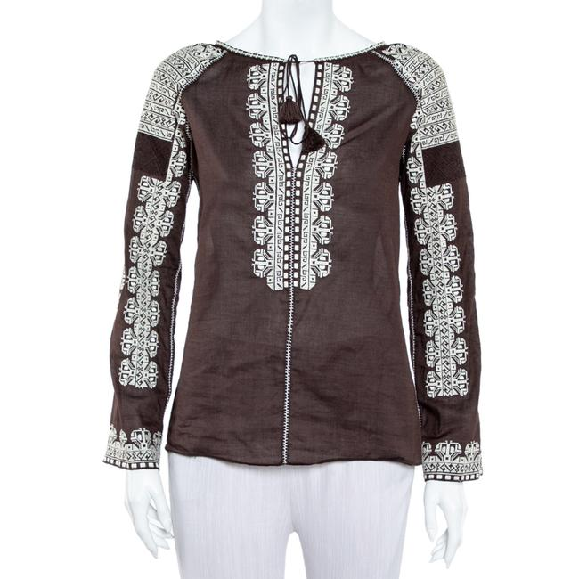 Item - Embroidered Brown Cotton Neck Tie Detail Blouse