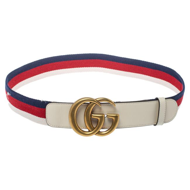 Item - Marmont White Canvas and Leather Web Gg 85cm Belt