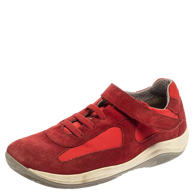 Item - Red Suede and Nylon Low Top Sneaker Size 34 Athletic