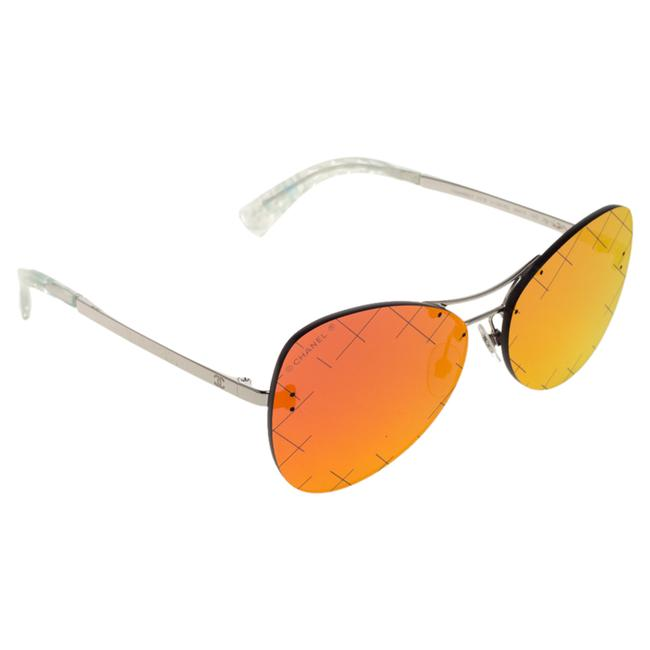 Item - Silver Tone / Orange Mirrored 4218 Crosshatch Aviator Sunglasses