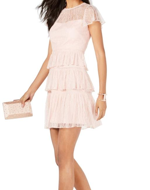 Item - Women's Pastel Pink Size 14 A-line Tiered Lace Cocktail Dress