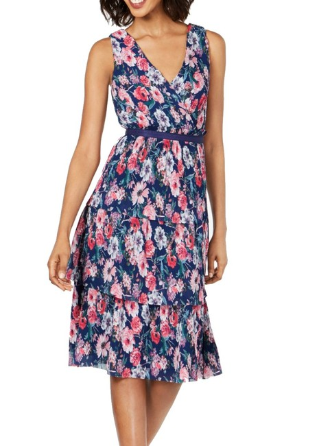 Item - Women's Pink Blue Size 8 A-line Floral Pleated Cocktail Dress