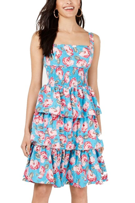 Item - Women's Blue Size 4 A-line Floral Tiered Ruffle Cocktail Dress