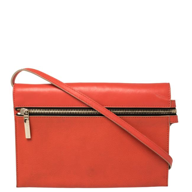 Item - Coral Orange Leather Zipped Flap Shoulder Bag
