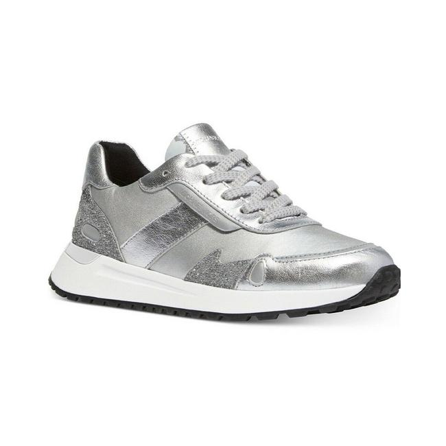 Item - Women's Leather Metallic Monroe Trainer Silver Sneaker Athletic