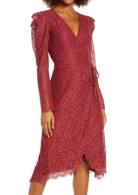 Item - Women's Wrap Maroon Red Size Small S Lace Midi Cocktail Dress