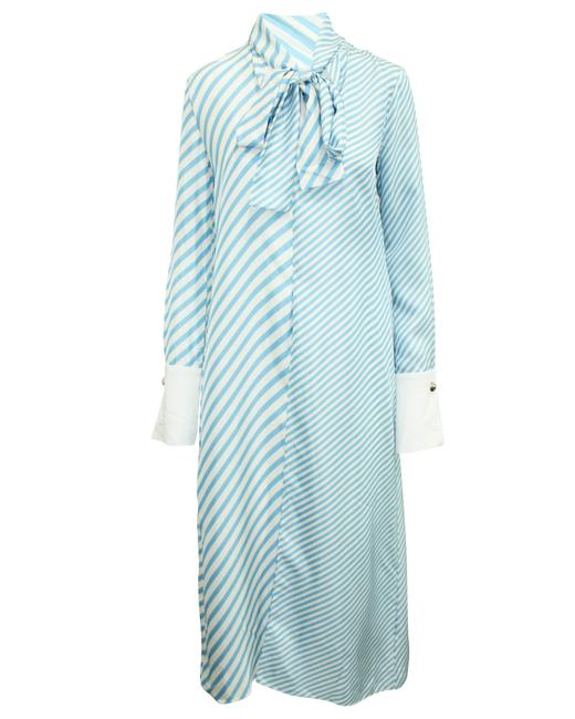 Item - Blue Striped Silk -pre Owned Condition Very Good Us4 Cocktail Dress