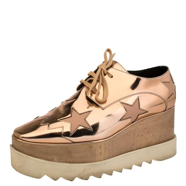 Item - Metallic Rose Gold Faux Leather Elyse Star Platform Lace Up Derby Size 39 Athletic