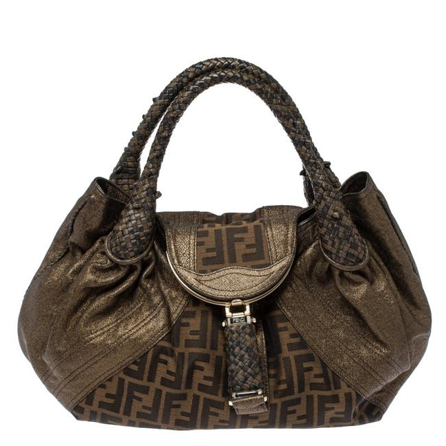 Item - Tobacco/Metallic Zucca Canvas and Leather Spy Hobo Bag