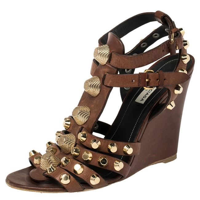 Item - Brown Leather Arena Cage Wedge Size 39 Sandals