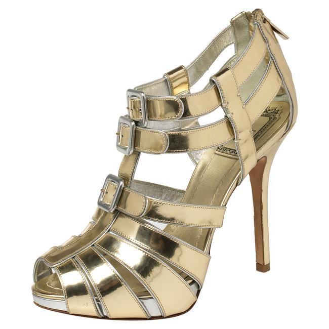 Item - Metallic Gold Leather Strappy Buckle Caged Size 37.5 Sandals
