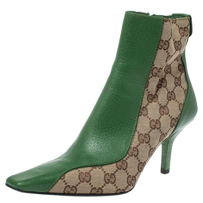 Item - Green/Beige Gg Canvas and Leather Square Toe Ankle Size 37.5 Boots/Booties