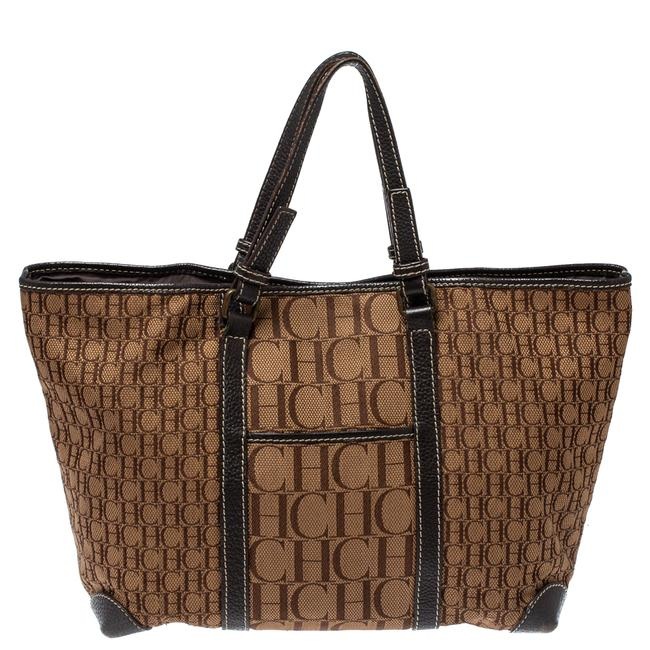 Item - Brown Canvas and Leather Monogram Shopper Tote