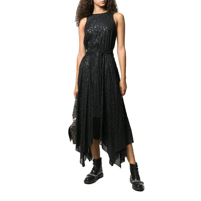 Item - Women's Leopard Print Flared Belted Black Casual Maxi Dress