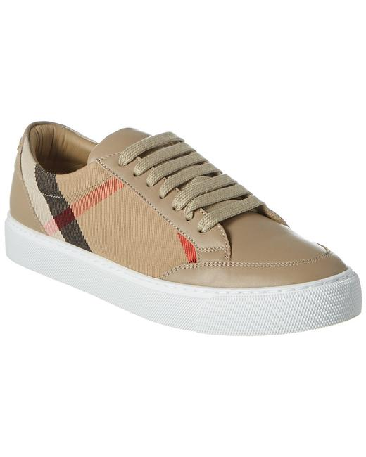 Item - Check Canvas & Leather Sneaker 8024330 Athletic
