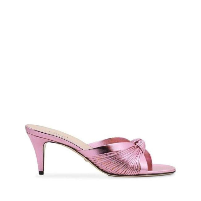 Gucci Knotted Metallic Leather Mid-heel Bow Mule It 36.5 Sandals Gucci Knotted Metallic Leather Mid-heel Bow Mule It 36.5 Sandals Image 1