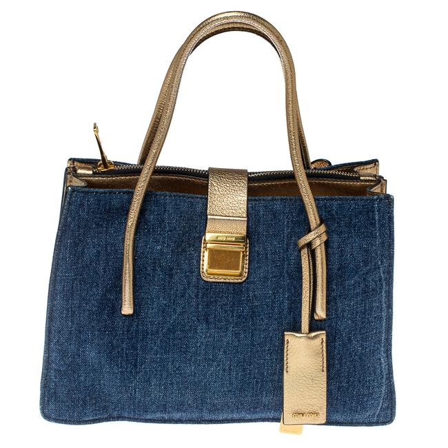 Item - Gold/Blue Madras Leather and Denim Pushlock Tote