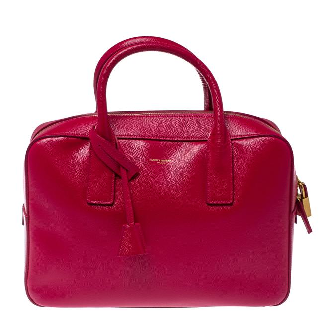 Item - Magenta Grained Leather Museum Briefcase Messenger Bag