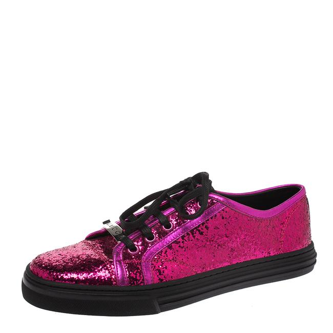 Item - Metallic Pink Coarse Glitter and Leather Trim Low Top Sneakers Size 38 Athletic