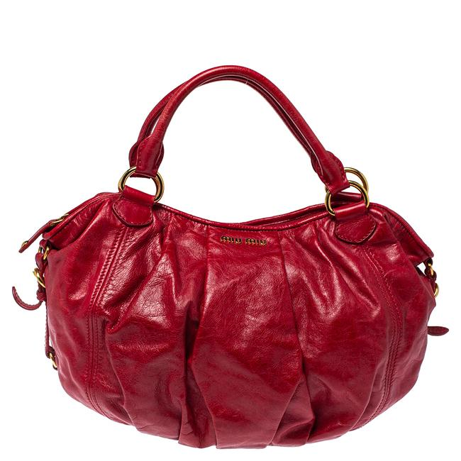 Item - Red Leather Gathered Hobo Bag