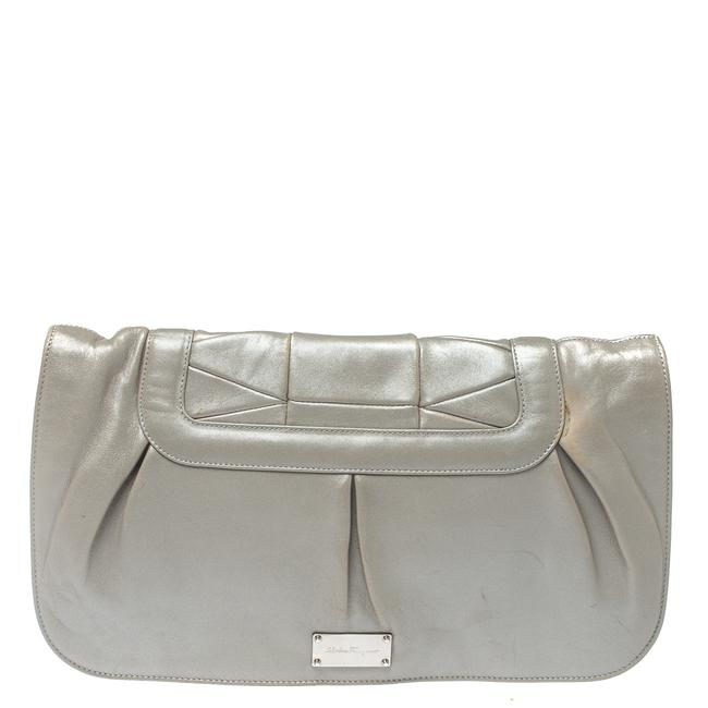 Item - Grey Pleated Leather Oversized Clutch